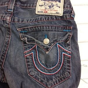 a11f49f2e True Religion · True Religion Slim Jeans Red White Blue Stitching.  58  0